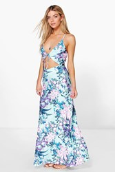 Boohoo Cut Out Strappy Tropical Maxi Dress Multi