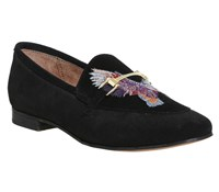 Office Flower Child Embroidered Loafers Black Suede
