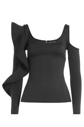 David Koma Top With Cut Out Shoulder And Ruffles Black