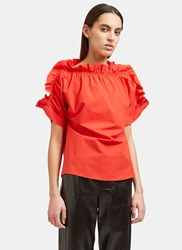 Msgm Ruffled Off The Shoulder Top Red