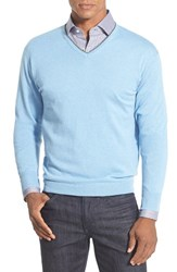 Men's Peter Millar Tipped Cashmere Blend V Neck Sweater Sky