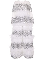 Huishan Zhang Anais Tiered Feather Gown White