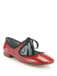 Marc Jacobs Lisa Mary Jane Patent Leather Ballet Flats Red
