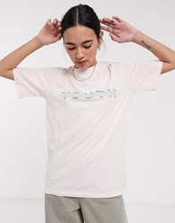 Native Youth Relaxed T Shirt With Front Logo In Organic Cotton Pink