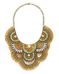 Deepa Gurnani Scalloped Circle Crystal Feather Necklace
