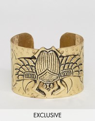 Reclaimed Vintage Inspired Beetle Cuff Gold