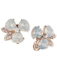 Anne Klein Rose Gold Tone White Imitation Opal Flower Button Clip Earrings