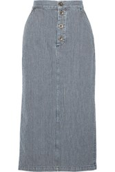 Mih Jeans M.I.H Malo Striped Denim Skirt Midnight Blue