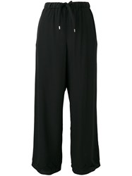 Red Valentino Scalloped Hem Cropped Trousers Black