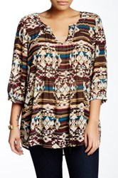 Eyeshadow 3 4 Length Sleeve Printed Blouse Plus Size Multi