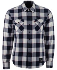 Levi's Men's Houston Texans Plaid Barstow Western Long Sleeve Shirt Blue