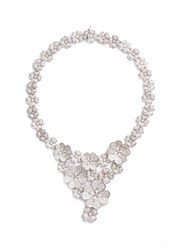 Cz By Kenneth Jay Lane Cubic Zirconia Floral Bib Necklace Metallic