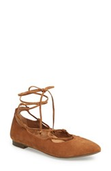 Vionic Women's Lucinda Ghillie Lace Flat Caramel Leather