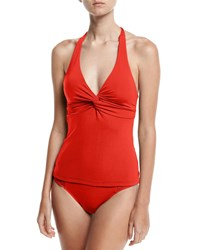 Jets By Jessika Allen Jetset Twist Front Tankini Swim Top Red D Dd Cup