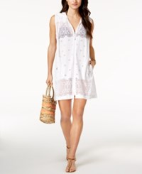 Dotti Free Spirit Crochet Zip Hoodie Cover Up Women's Swimsuit White