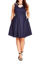 Plus Size Women's City Chic 'Sweet Cutout' Fit And Flare Dress French Navy