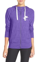 Women's Nike 'Gym Vintage' Front Zip Hoodie Court Purple Sail