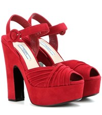 Prada Suede Platform Sandals Red