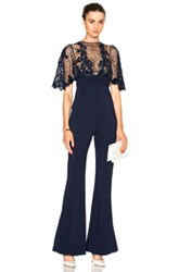 Zuhair Murad Fitted Jumpsuit With Lace Appliques In Blue