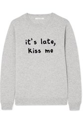 Chinti And Parker Kiss Me Intarsia Cashmere Sweater Gray