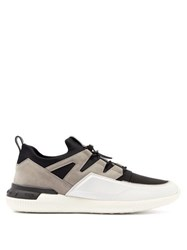 Tod's Nubuck Panelled Drawstring Technical Trainers White Multi