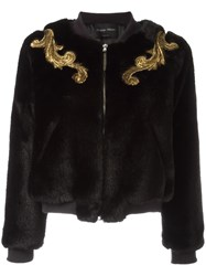 Christian Pellizzari Embellished Detail Fur Jacket Black