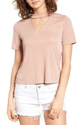 Madison And Berkeley Women's Choker Tee D.Peach