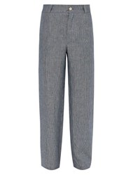 Hecho Mid Rise Striped Linen Trousers Navy