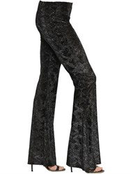 Black Coral Jacquard Velvet Flared Leggings