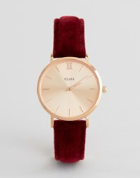 Cluse Red Velvet Minuit Watch Cl30042 Red Rose Gold