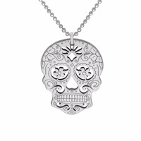 Cartergore Silver Sugar Skull With Flower Eyes Pendant Necklace