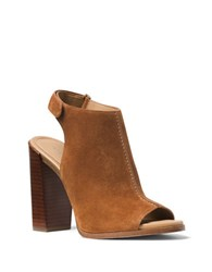 Michael Kors Maeve Suede Open Toe Booties Luggage