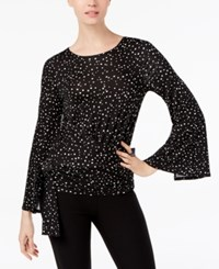 Cable And Gauge Printed Split Bell Sleeve Top White Black Dot