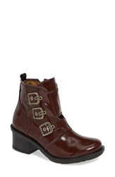 Fly London Crip Buckle Boot Burgundy Patent Leather