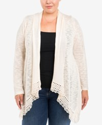 Eyeshadow Trendy Plus Size Mixed Knit Cardigan Natural