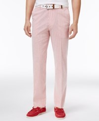 Tommy Hilfiger Men's Slim Fit Stretch Performance Red White Seersucker Suit Pants Red And White