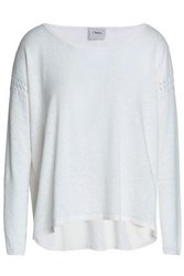 Charli Pointelle Trimmed Knitted Sweater Off White Off White