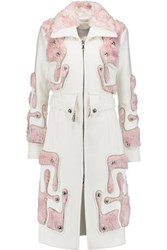 Peter Pilotto Tetris Wool And Mohair And Cotton Blend Coat Ivory