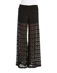 Vintage Havana Crocheted Wide Leg Pants Black