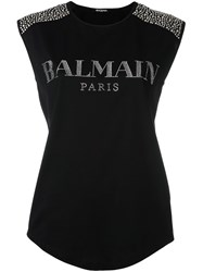 Balmain Embellished Logo Tank Top Black