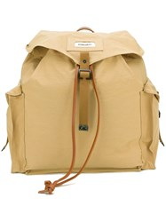 Dsquared2 Military Backpack Men Cotton Calf Leather Polyimide One Size Brown