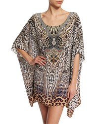 Camilla Printed Embellished Short Caftan Coverup The Mighty Women's