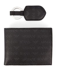 Armani Jeans Black Aj Logo Key Ring And Wallet Set