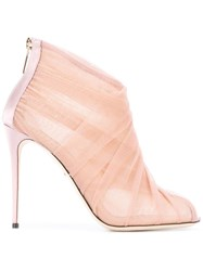 Dolce And Gabbana Tulle Booties Pink Purple