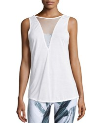 Alo Yoga Warm Up Mesh Inset Sport Tank Top White