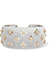 Buccellati Macri Giglio 18 Karat White And Yellow Gold Diamond Cuff White Gold
