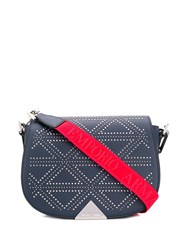 Emporio Armani Studded Shoulder Bag Blue