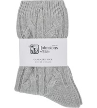Johnstons Cable Knit Cashmere Socks Coyote