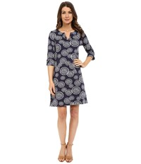 Hatley Peplum Sleeve Dress Navy Mandala Women's Dress Purple