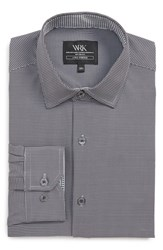 W.R.K Big And Tall Trim Fit Stretch Houndstooth Dress Shirt Black